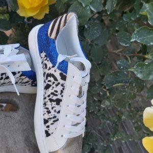 basket zebre bleu