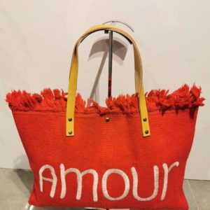 cabas orange amour laniere cuir