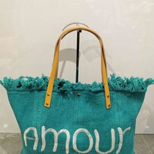 cabas turquoise laniere cuir
