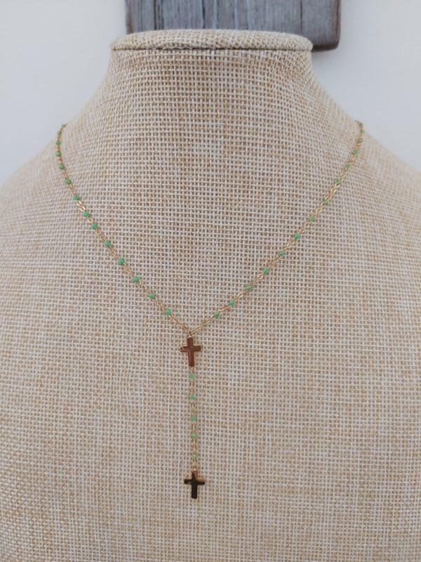 collier gg clozo croix vert