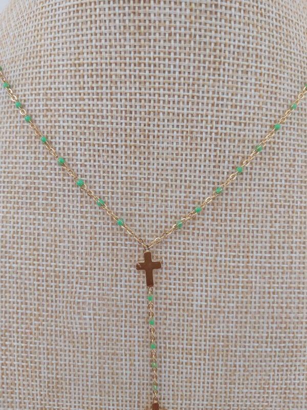 collier ras de cou croix vert