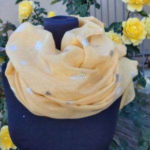 foulard jaune plume argent