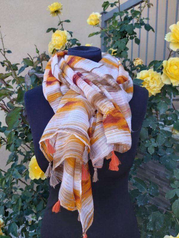 foulard pompons orange