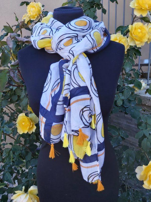 foulard pompons orange jaune