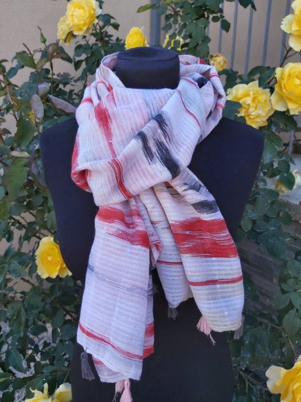 foulard pompons rouge