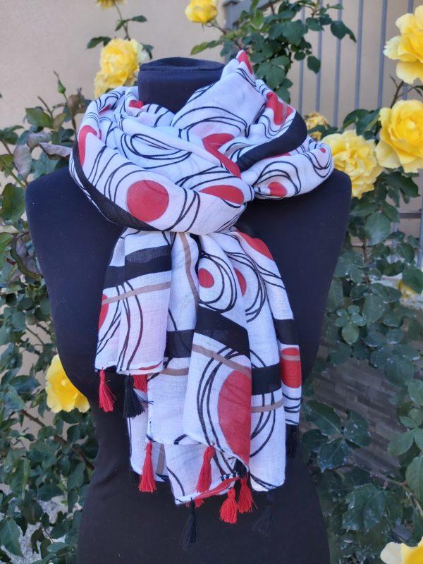 foulard pompons rouge bleu