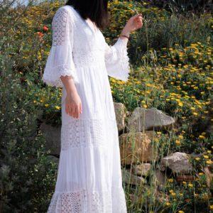 robe blanche wang dentelle