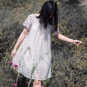 robe courte dentelle beige wang