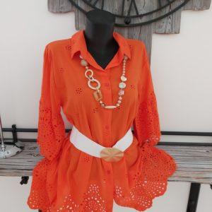 robe dentelle orange courte