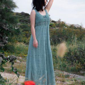 robe dentelle wang turquoise