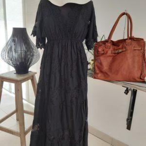 robe longue dentelle noir