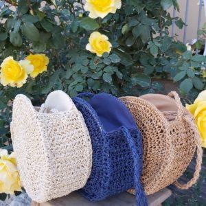 sac corde rond beige