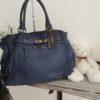 sac cuir bleu kelly