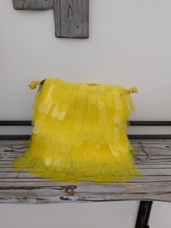 sac franges fluo jaune