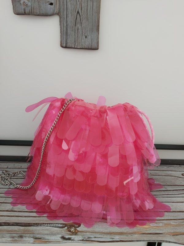 sac franges fluo rose