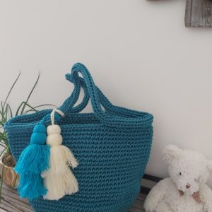 sac rigide crochet turquoise