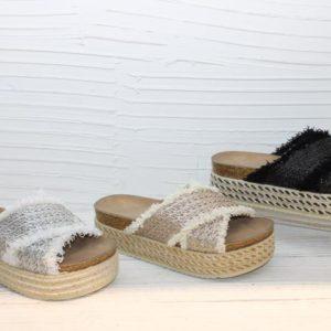 sandales compensees doree argente noir