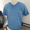 tee shirt bleu turquoise petroles industrie col v