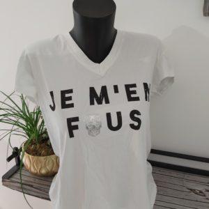 tee shirt je m en fou blanc
