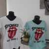tee shirt stones blanc bleu