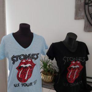 tee shirt stones bleu noir