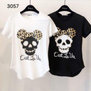 tee shirt tete de mort leopard