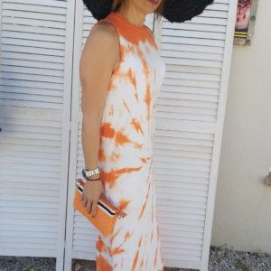 robe tye and dye orange