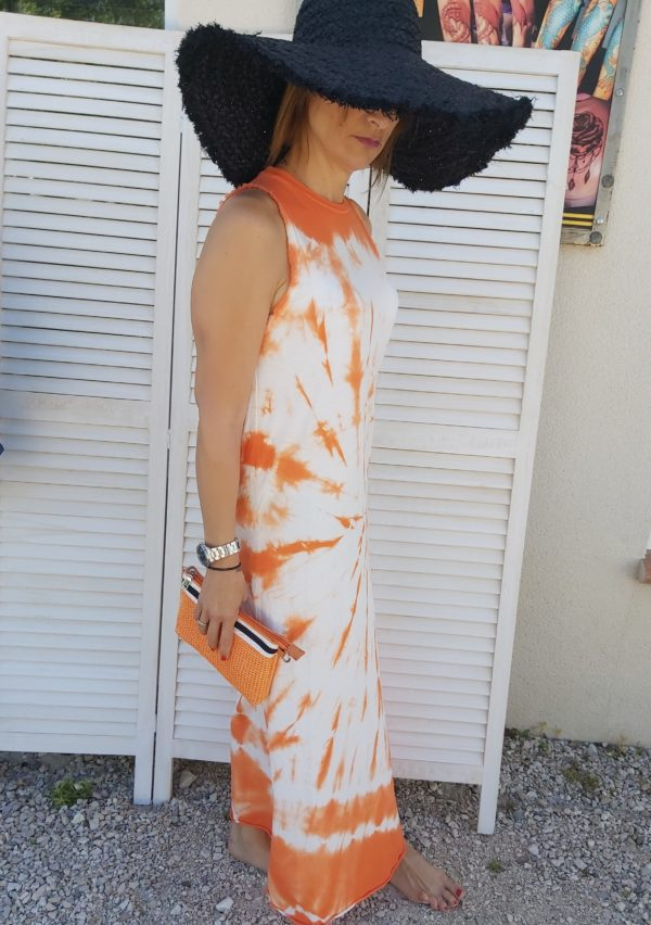 robe tye and dye orange
