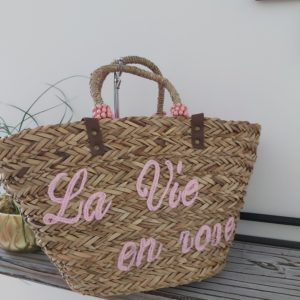 sac de plage rose la vie en rose panier