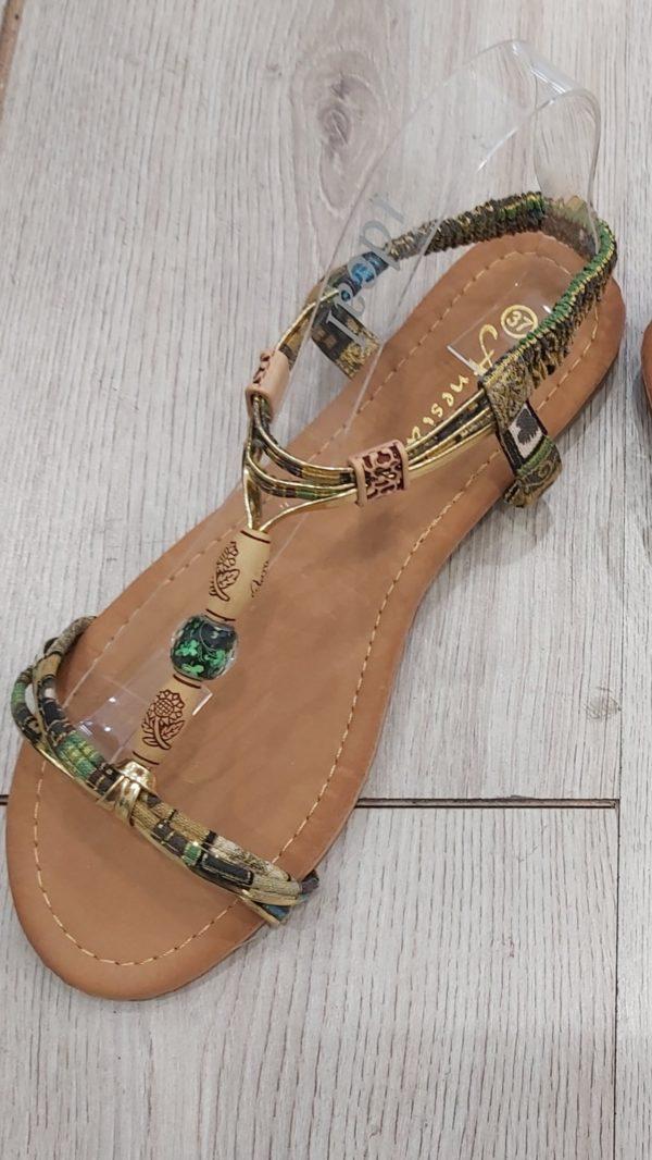 sandales perle vert
