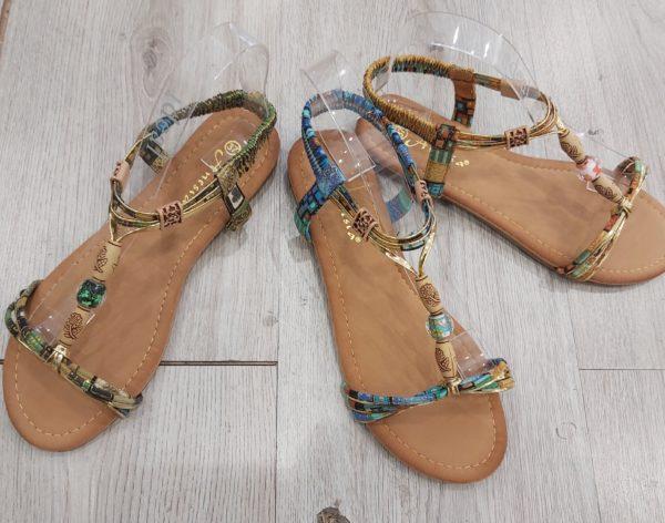 sandales perles beige