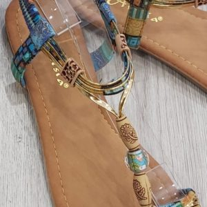 sandales perles bleu
