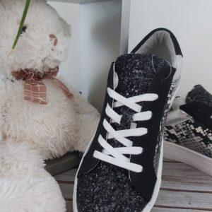 basket noir paillette leopard