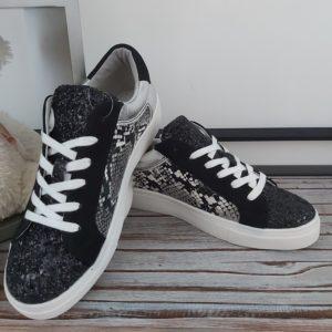 basket noir paillette leopard femme