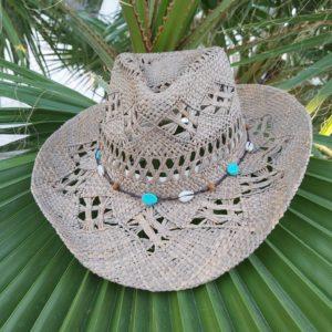 chapeau paille cowboy turquoise bleu