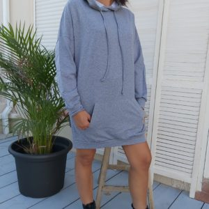 robe capuche grise