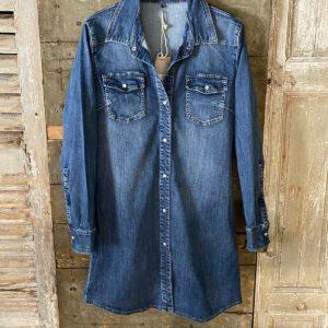 robe jean bleu bouton courte
