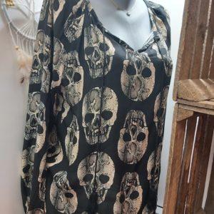 blouse banditas noir tete de mort