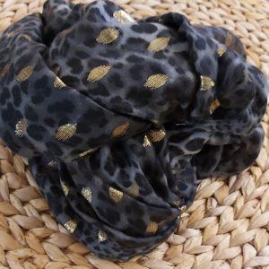 Foulard noir gris doree