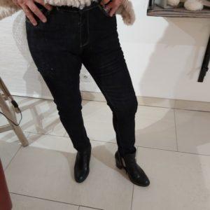 jean bleu poncho fausse fourrure