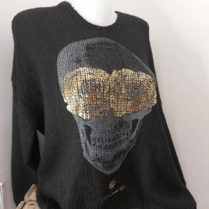 pull laine tete de mort noir
