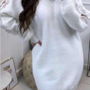 robe blanche col v dentelle