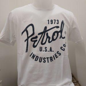 tee shirt blanc ecriture bleu petrol industry