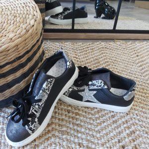 basket noir leopard etoile argenté pailletee findlay
