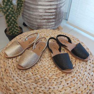 sandale noir doree