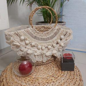 panier osier blanc pompon
