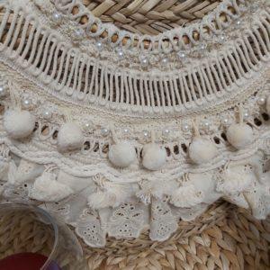 panier osier blanc pompon unique