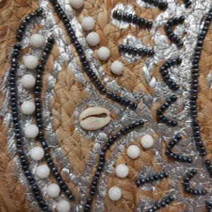 panier osier perle noir et blanc