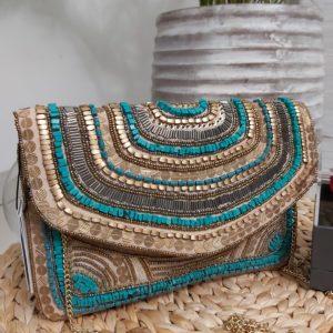 pochette perle face turquoise