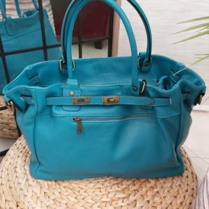 sac cuir turquoise